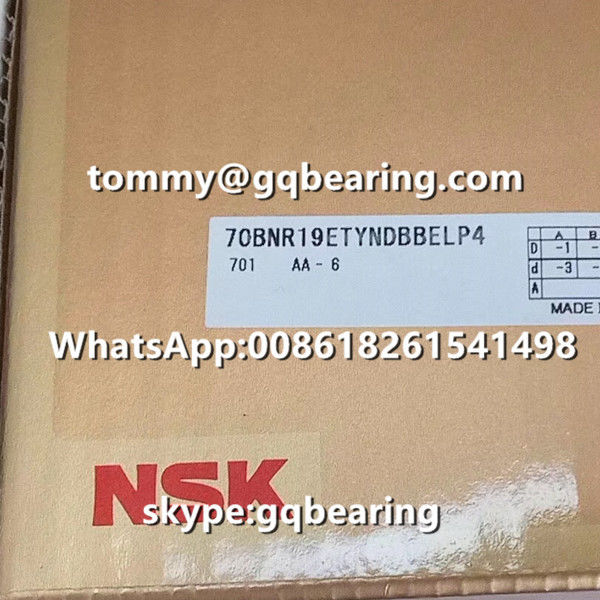 SUJ2 Steel Material NSK 70BNR19ETYNDBBELP4 High-Speed Precision Angular Contact Ball Bearing